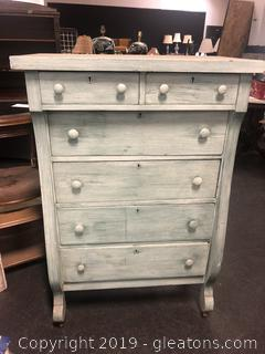 Empire Antique 6 Drawer Chest. Painted Light Green With White Wash