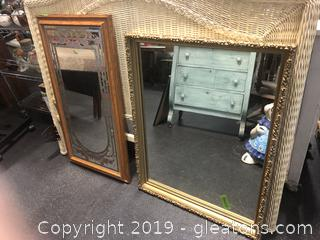Lot Of 2 Mirrors Vintage Mirror Gold 29x37