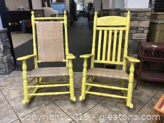 Pair Of 2 Yellow Front Porch Rockers One With Cane Back One With Spindle Back