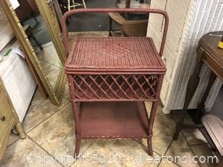 Antique Red Wicker Basket Table With Shelf.
