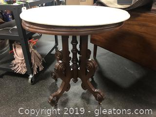 Antique Marble Top Table On Castors Beautiful Shape
