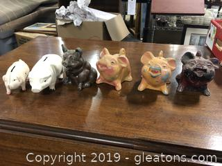 Mutual Savings Lot Of 6 Metal Piggy Banks