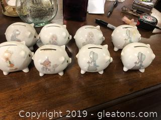 Lot Of 8 Precious Moments Pig Piggy Banks