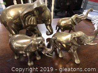Lot Of 4 Brass Elephants