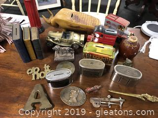 Lot B Assorted Banks In Brass And Pottery Collectable Items 20 Items