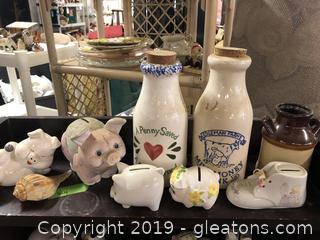 Lot C Lot Of Jugs And Piggy Banks On Shelf (1)