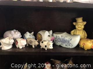 Lot D Shelf #2 Assorted Piggy Banks
