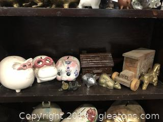Lot F Shelf #4 Assorted Piggy Banks All Vintage