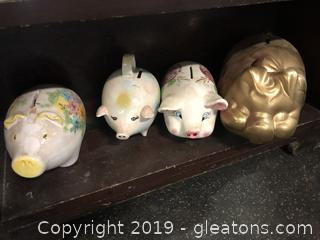 Lot G Shelf #5 Lot Of Vintage Piggy Banks Assorted