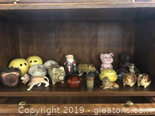 Lot I Shelf #2 Lot Of Assorted Piggy Banks All Vintage Some Collectible Figurines