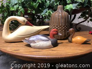 Lot Of Wooden/Ceramic Ducks And Large Ornate Glazed Vase