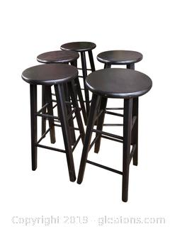Lot Of 5 Black Wood Bar Stools