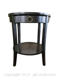 Small Black End/Side Table Round/(1) Drawer