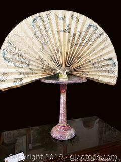 Tobacco Leaf Carved Marble Stand On pedestal With Paper Fan On Brass Holder