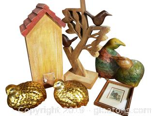Wooden Serving Tray And Home Accessories Wooden Birds, With House Gord Painted Doves