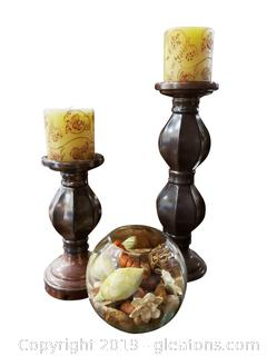 Glass Candle Stand With Decorative Candles And Glass Vase