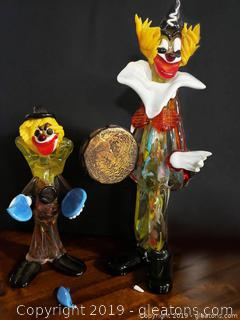 Lot Vintage Murano Glass Blown Clowns 2 Broken Pieces