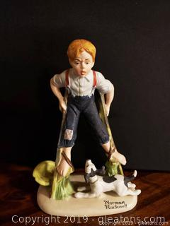 Norman Rockwell Boy On Stilts Figurine