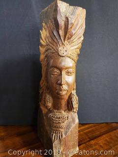 Beautifully Hand Carved Solid Wood Tribal Women Statue