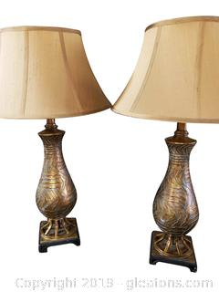 Pair Of Wood Gold Painted Table Lamps