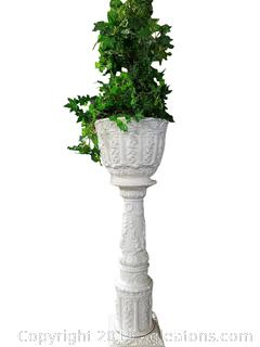 Elegant Rosary Garden Pottery Glazed Stand With Silk Greenery