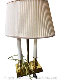 Brass Double Light Candlestick Desk Lamp
