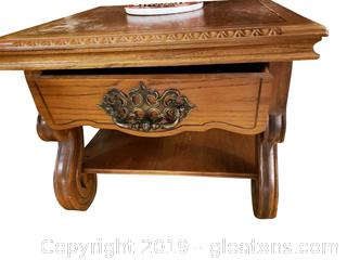 Vintage Square Solid Wood End Table Scroll Legs