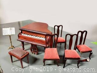Miniature Mahogany Grand Piano With Music Stand And (4) Chairs