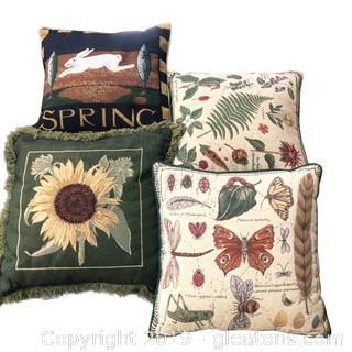 Set Of Spring Tapestry Pillows