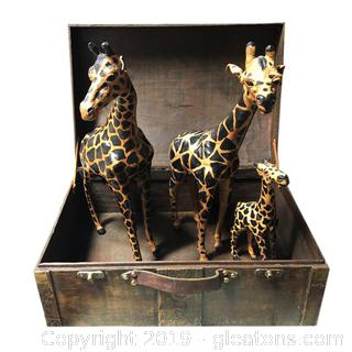 Set Of (3) Leather Paper Mache Giraffe And Decorative Wooden Chest