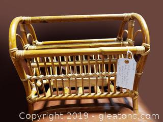 Mid Century Bamboo/Rattan/Wicker Magazine Holder