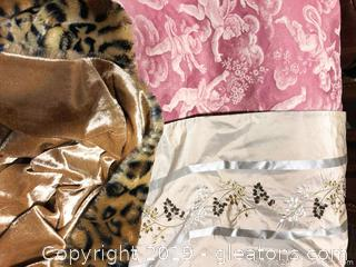Pair Of Leopard Print Throws And Set Of (2) Long Table Runners
