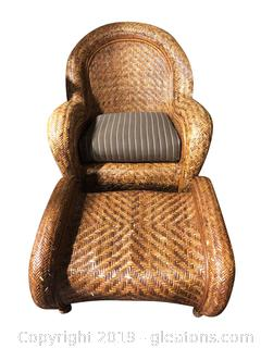 Large Wicker Boho Rattan Cane Accent Chair With Matching