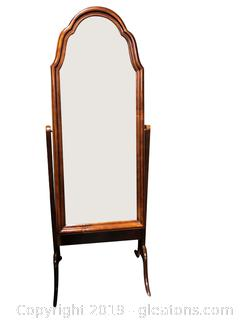 Wood Floor Beveled Mirror Full Body Swing