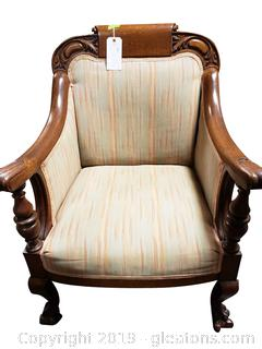 Antique Empire 1800's Parlor Upholstered Arm Chair With Hand Carving And Lion Claw Feet