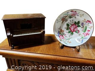 Lot Of Vintage Piano Music Box, And Wedgewood Miniature China Bowl