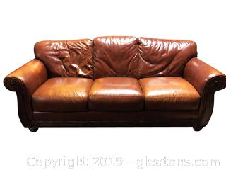 Large Leather Camel Color Sofa By Leather Trend Macy's