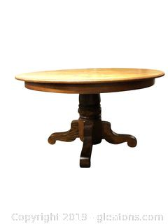 Round Solid Oak Pedestal Dining Table
