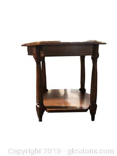 Small Wooden/Rattan/Glass Octagon Shaped End Table