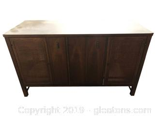 Vtg Mid Century Classic By Broyhill/Rattan Doors Black Laminate Top