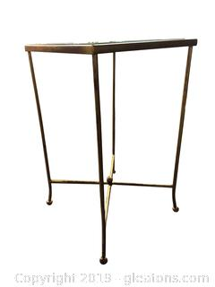 Small Glass Top Metal Accent/Side Table/Plant Stand