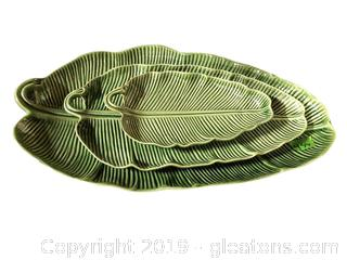 Set Of (3) Bordallo Pinheiro Cabbage Leaf Trays