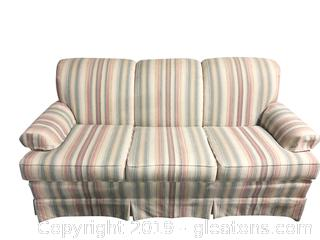 Gently Used Huntington House Pastel Stripped Sofa W.Accent Pillows