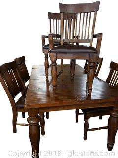 Farmhouse Table And Chairs With Attached Leaf