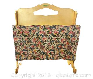 Vtg Sezzatini Hand Painted Wooden Magazine Rack