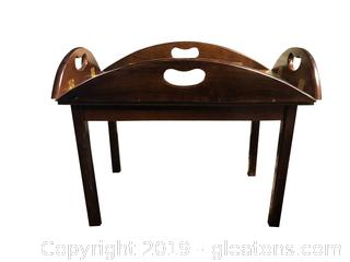 Antique Solid Mahogany Chippendale Butlers Tray