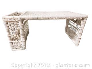 White Wicker Breakfast Bed Tray/Reading Rack