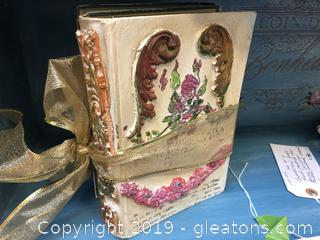 Set Of 2 Embellished Books Hand Painted For Decor Purposes Holded, Painted, Waked