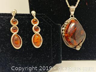 Women's Silver And Amber Set