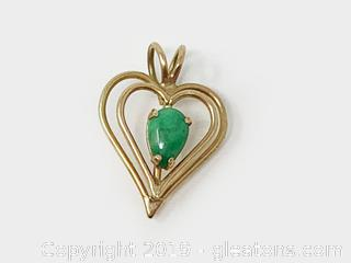 Emerald And Gold Heart pendant